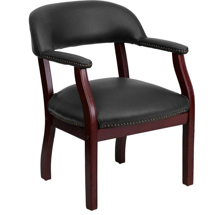 Flash Furniture B-Z105-BLACK-GG Black Vinyl Luxurious Conference Chair with Accent Nail Trim