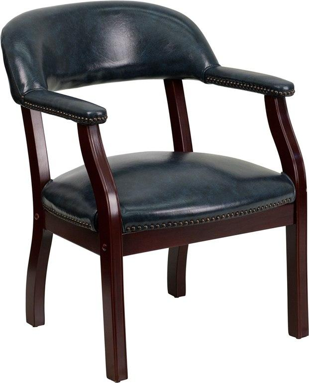 Flash Furniture B-Z105-NAVY-GG Navy Vinyl Luxurious Conference Chair with Accent Nail Trim
