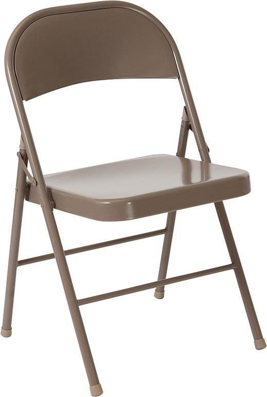 Flash Furniture BD-F002-BGE-GG HERCULES Series Double Braced Beige Metal Folding Chair