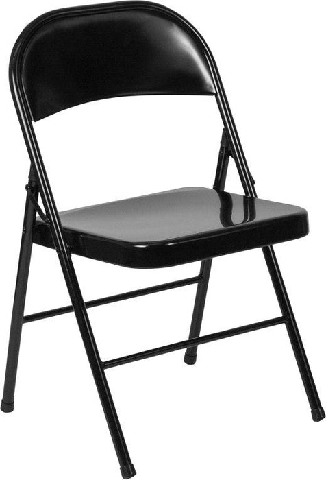 Flash Furniture BD-F002-BK-GG HERCULES Series Double Braced Black Metal Folding Chair