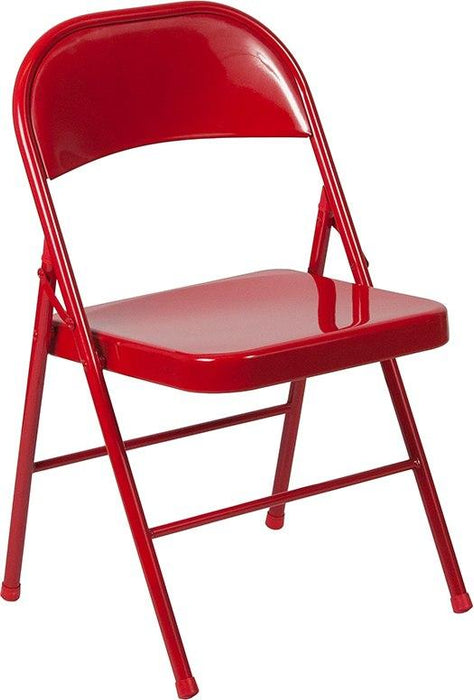 Flash Furniture BD-F002-RED-GG HERCULES Series Double Braced Red Metal Folding Chair