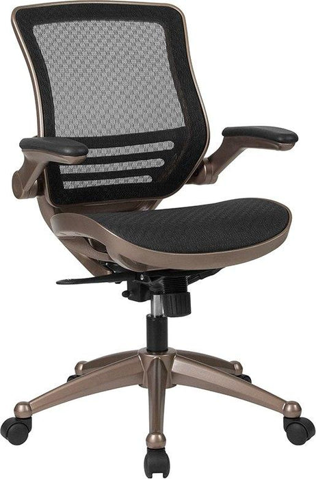 Flash Furniture BL-8801X-GG Mid-Back Transparent Black Mesh Executive Swivel Chair with Melrose Gold Frame and Flip-Up Arms