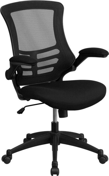 Flash Furniture BL-X-5M-BK-GG Mid-Back Black Mesh Swivel Task Chair with Flip-Up Arms