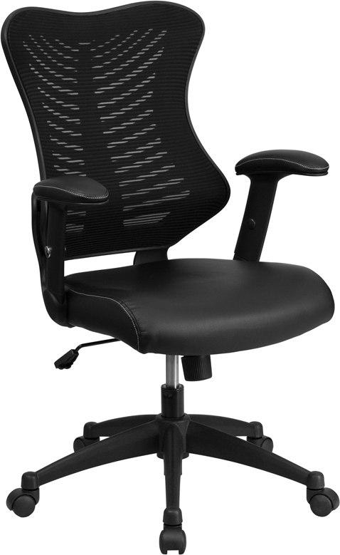 Flash Furniture BL-ZP-806-BK-LEA-GG High Back Designer Black Mesh Executive Swivel Chair with Leather Seat and Adjustable Arms