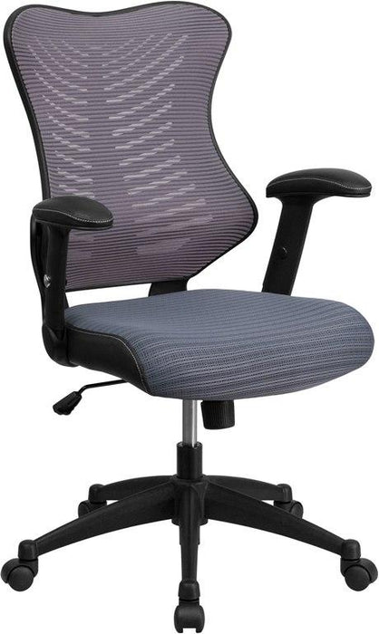 Flash Furniture BL-ZP-806-GY-GG High Back Designer Gray Mesh Executive Swivel Chair with Adjustable Arms