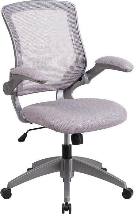 Flash Furniture BL-ZP-8805-GY-GG Mid-Back Gray Mesh Swivel Task Chair with Gray Frame and Flip-Up Arms