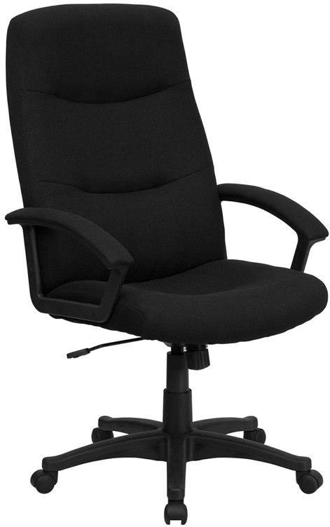 Flash Furniture BT-134A-BK-GG High Back Black Fabric Executive Swivel Chair with Arms