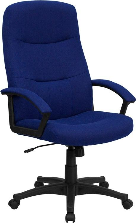 Flash Furniture BT-134A-NVY-GG High Back Navy Blue Fabric Executive Swivel Chair with Arms