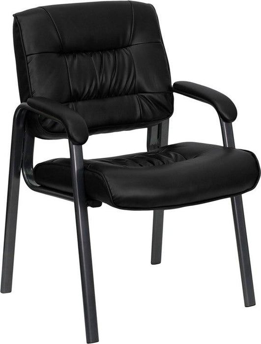 Flash Furniture BT-1404-BKGY-GG Black Leather Executive Side Reception Chair with Titanium Frame Finish