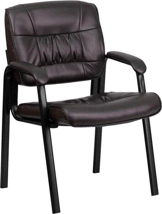 Flash Furniture BT-1404-BN-GG Brown Leather Executive Side Reception Chair with Black Metal Frame