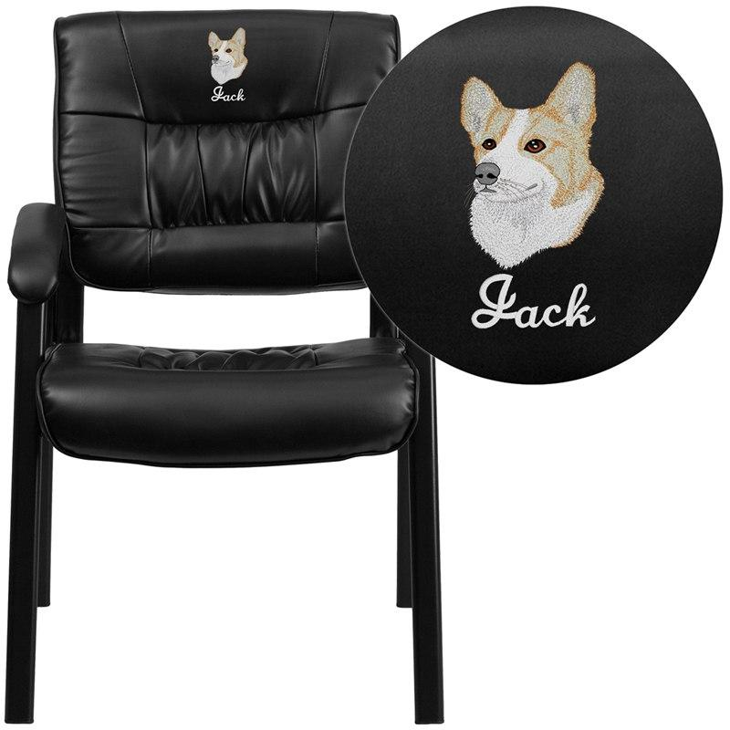 Flash Furniture BT-1404-EMB-GG Embroidered Black Leather Executive Side Reception Chair with Black Frame Finish