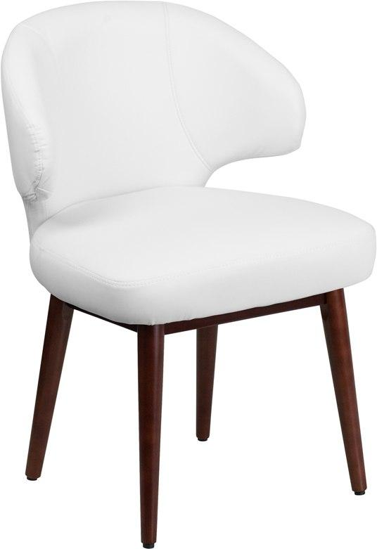 Flash Furniture BT-2-WH-GG Comfort Back Series White Leather Side Reception Chair with Walnut Legs