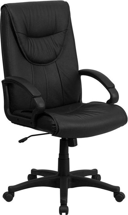 Flash Furniture BT-238-BK-GG High Back Black Leather Executive Swivel Chair with Arms