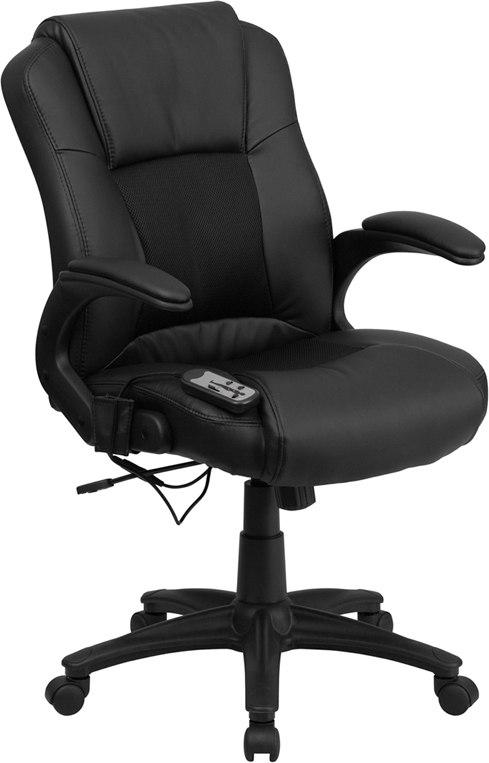 Flash Furniture BT-2536P-1-GG Massaging Black Leather Executive Swivel Chair with Arms