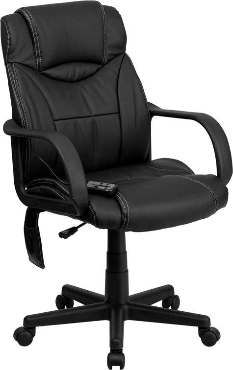 Flash Furniture BT-2690P-GG Mid-Back Massaging Black Leather Executive Swivel Chair with Arms