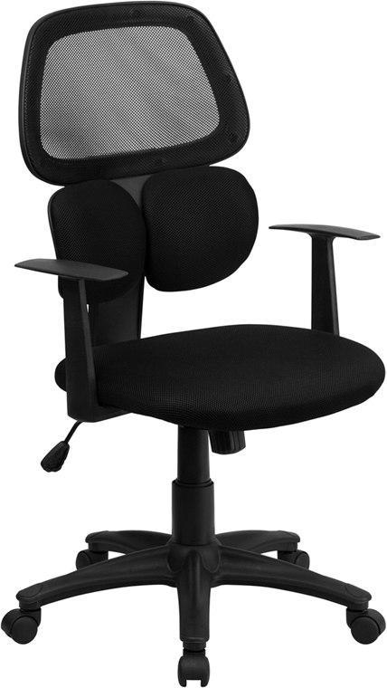 Flash Furniture BT-2755-BK-GG Mid-Back Black Mesh Swivel Task Chair with Flexible Dual Lumbar Support and Arms