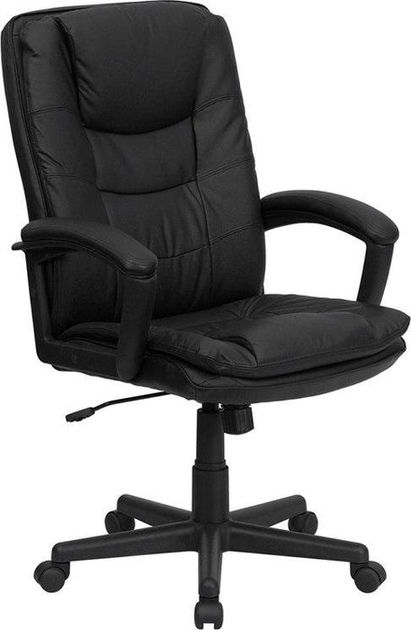 Flash Furniture BT-2921-BK-GG High Back Black Leather Executive Swivel Chair with Arms