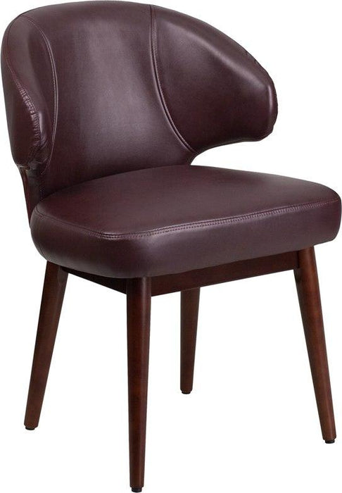 Flash Furniture BT-3-BG-GG Comfort Back Series Burgundy Leather Side Reception Chair with Walnut Legs