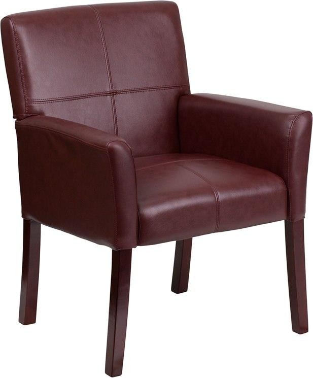 Flash Furniture BT-353-BURG-GG Burgundy Leather Executive Side Reception Chair with Mahogany Legs
