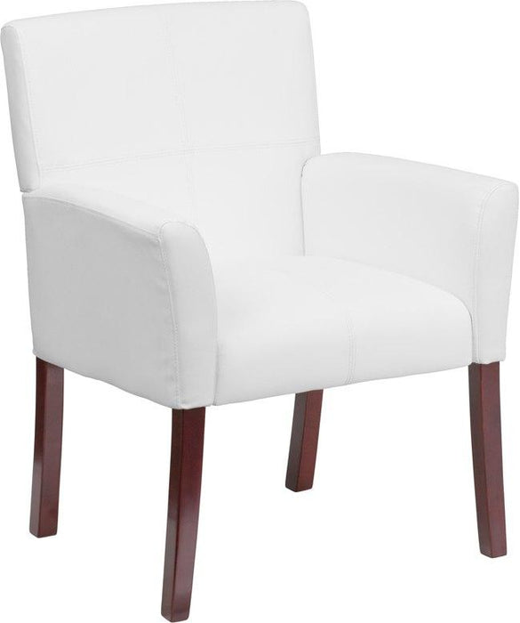 Flash Furniture BT-353-WH-GG White Leather Executive Side Reception Chair with Mahogany Legs