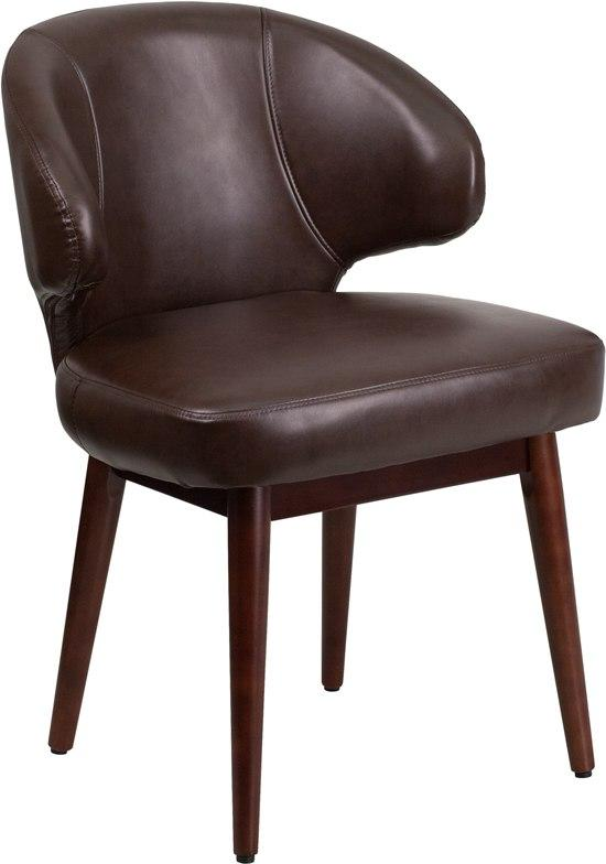 Flash Furniture BT-4-BN-GG Comfort Back Series Brown Leather Side Reception Chair with Walnut Legs