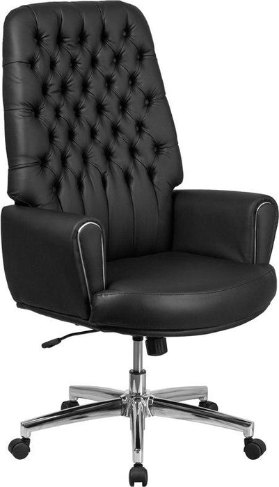 Flash Furniture BT-444-BK-GG High Back Traditional Tufted Black Leather Executive Swivel Chair with Arms