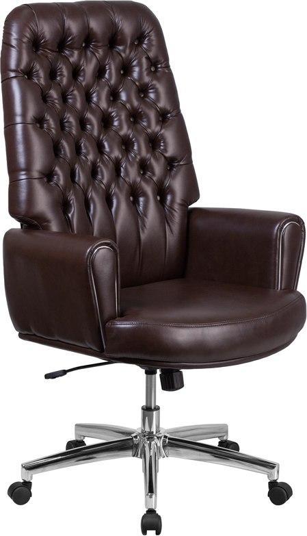 Flash Furniture BT-444-BN-GG High Back Traditional Tufted Brown Leather Executive Swivel Chair with Arms