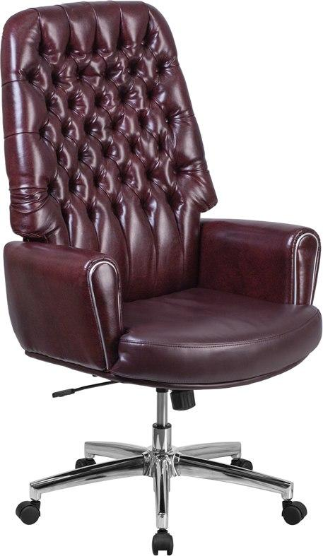 Flash Furniture BT-444-BY-GG High Back Traditional Tufted Burgundy Leather Executive Swivel Chair with Arms