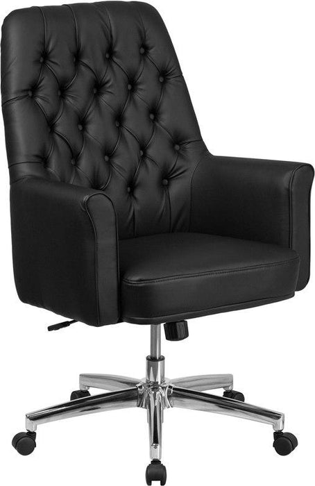 Flash Furniture BT-444-MID-BK-GG Mid-Back Traditional Tufted Black Leather Executive Swivel Chair with Arms