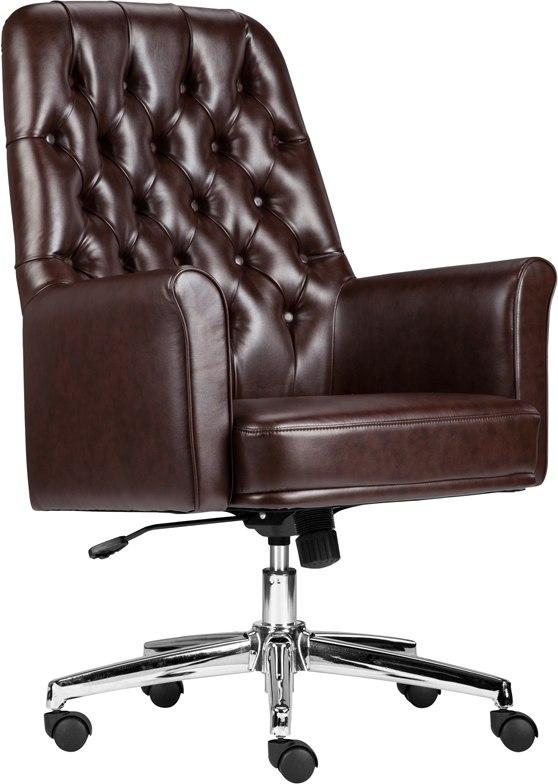 Flash Furniture BT-444-MID-BN-GG Mid-Back Traditional Tufted Brown Leather Executive Swivel Chair with Arms
