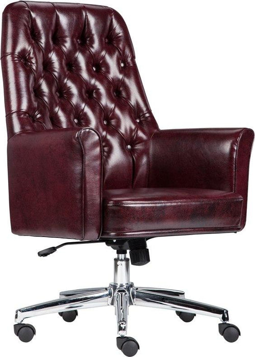 Flash Furniture BT-444-MID-BY-GG Mid-Back Traditional Tufted Burgundy Leather Executive Swivel Chair with Arms