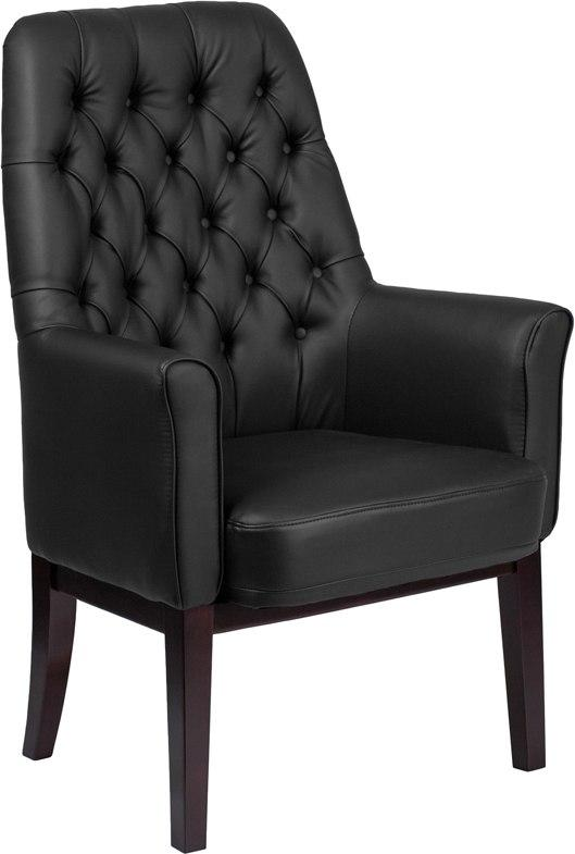 Flash Furniture BT-444-SD-BK-GG High Back Traditional Tufted Black Leather Side Reception Chair