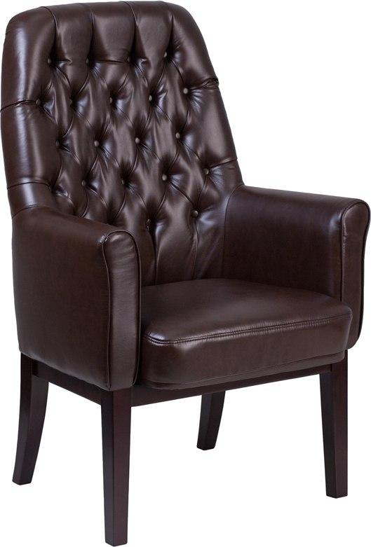 Flash Furniture BT-444-SD-BN-GG High Back Traditional Tufted Brown Leather Side Reception Chair