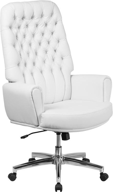 Flash Furniture BT-444-WH-GG High Back Traditional Tufted White Leather Executive Swivel Chair with Arms