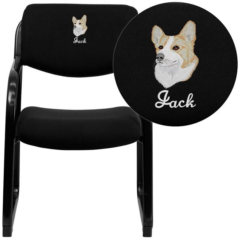 Flash Furniture BT-508-BK-EMB-GG Embroidered Black Fabric Executive Side Reception Chair with Sled Base