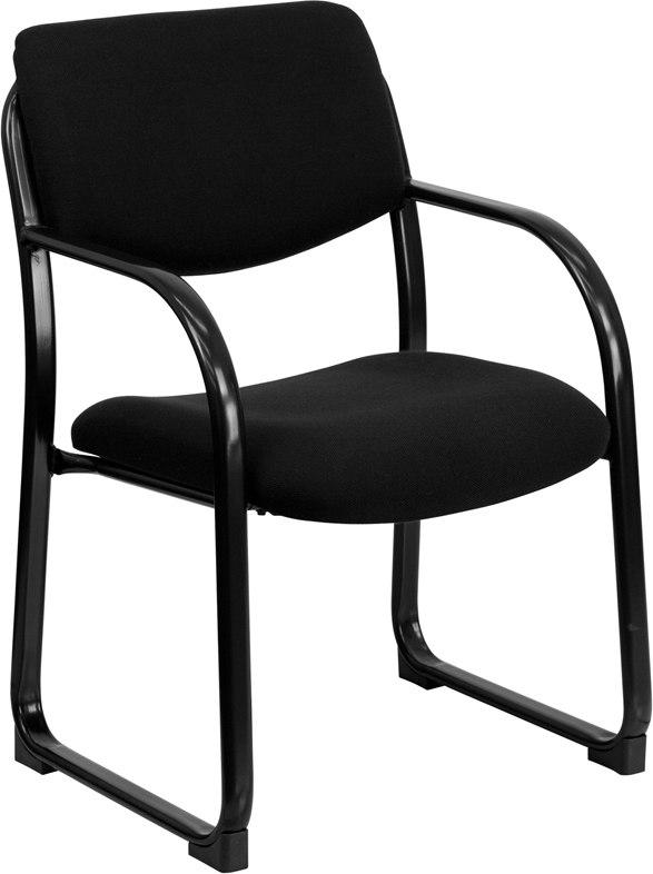 Flash Furniture BT-508-BK-GG Black Fabric Executive Side Reception Chair with Sled Base