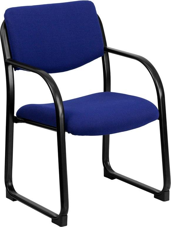 Flash Furniture BT-508-NVY-GG Navy Fabric Executive Side Reception Chair with Sled Base
