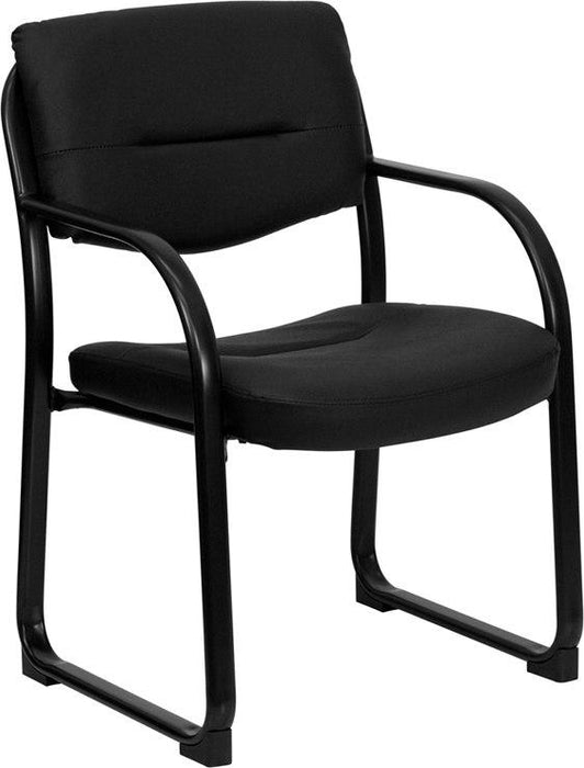 Flash Furniture BT-510-LEA-BK-GG Black Leather Executive Side Reception Chair with Sled Base