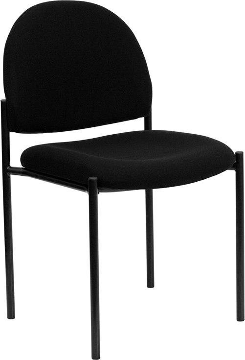 Flash Furniture BT-515-1-BK-GG Comfort Black Fabric Stackable Steel Side Reception Chair