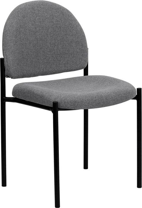 Flash Furniture BT-515-1-GY-GG Comfort Gray Fabric Stackable Steel Side Reception Chair