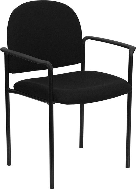 Flash Furniture BT-516-1-BK-GG Comfort Black Fabric Stackable Steel Side Reception Chair with Arms