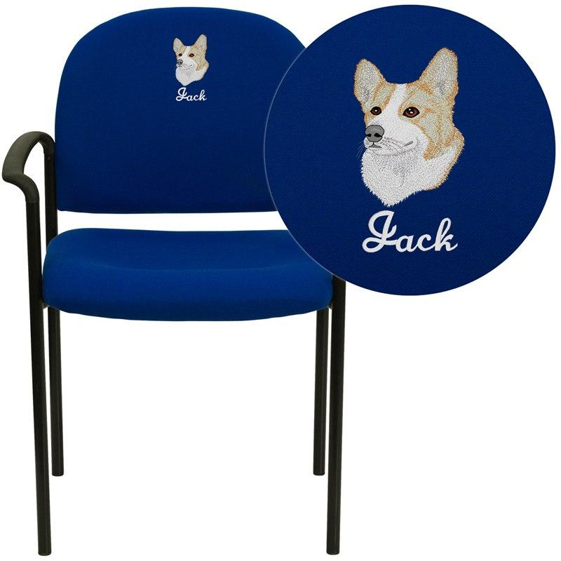 Flash Furniture BT-516-1-NVY-EMB-GG Embroidered Comfort Navy Fabric Stackable Steel Side Reception Chair with Arms