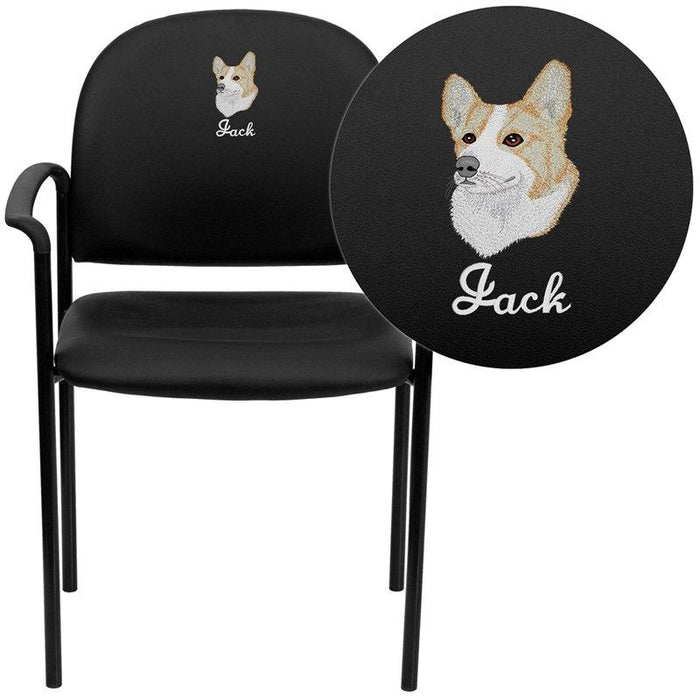 Flash Furniture BT-516-1-VINYL-EMB-GG Embroidered Comfort Black Vinyl Stackable Steel Side Reception Chair with Arms