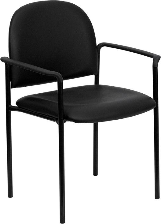 Flash Furniture BT-516-1-VINYL-GG Comfort Black Vinyl Stackable Steel Side Reception Chair with Arms