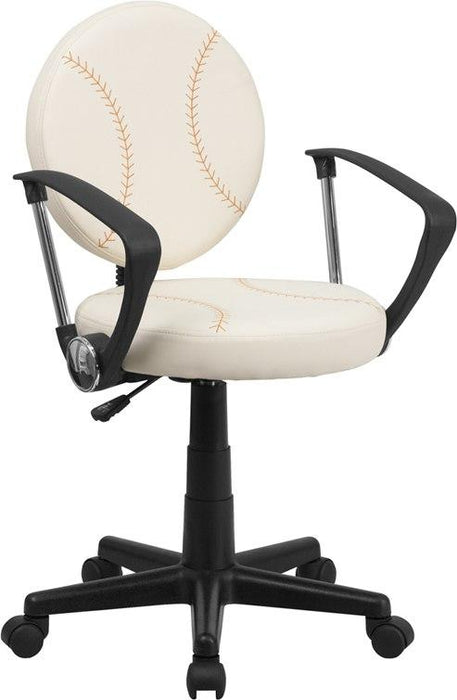 Flash Furniture BT-6179-BASE-A-GG Baseball Swivel Task Chair with Arms