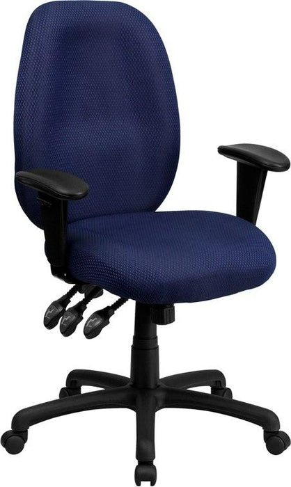 Flash Furniture BT-6191H-NY-GG High Back Navy Fabric Multifunction Ergonomic Executive Swivel Chair with Adjustable Arms