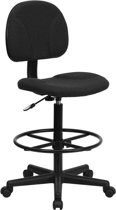 Flash Furniture BT-659-BLK-GG Black Patterned Fabric Drafting Chair (Cylinders: 22.5''-27''H or 26''-30.5''H)