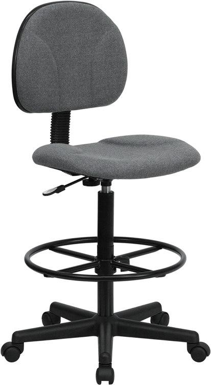 Flash Furniture BT-659-GRY-GG Gray Fabric Drafting Chair (Cylinders: 22.5''-27''H or 26''-30.5''H)