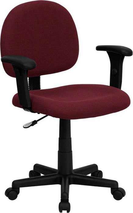 Flash Furniture BT-660-1-BY-GG Mid-Back Burgundy Fabric Swivel Task Chair with Adjustable Arms