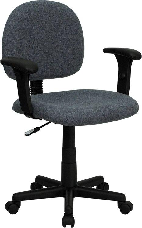 Flash Furniture BT-660-1-GY-GG Mid-Back Gray Fabric Swivel Task Chair with Adjustable Arms